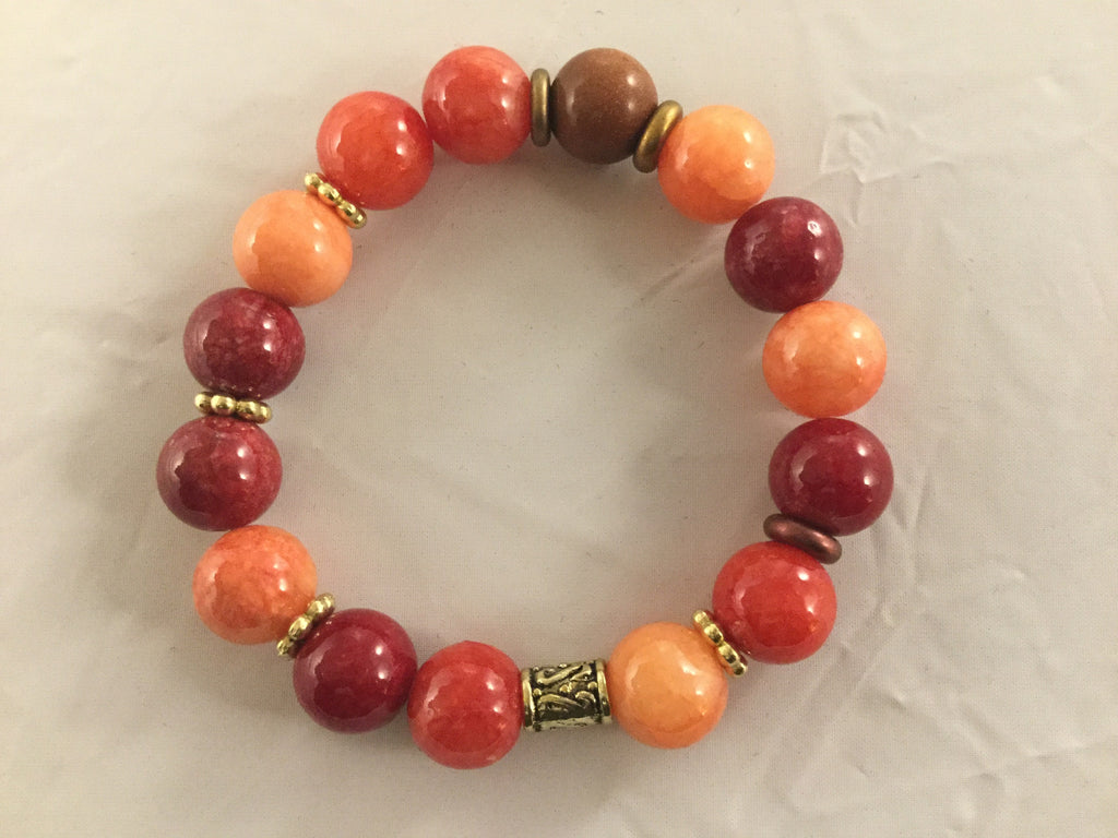 BRO7S red and orange 12mm Agate Bracelet