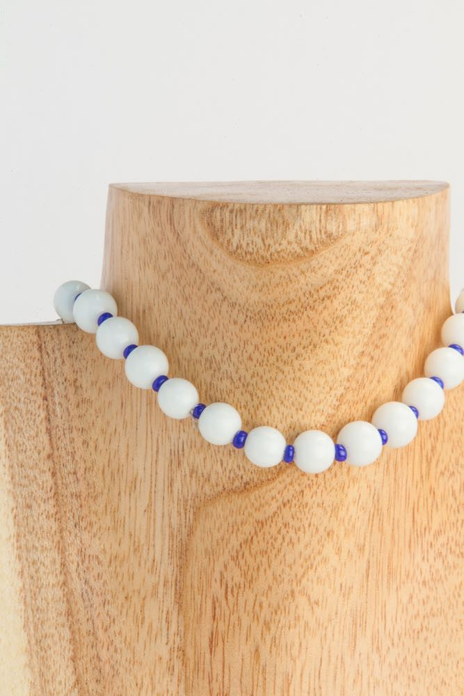 Babs - White Agate, Tiny Blue Lapis and Silver Metal Necklace