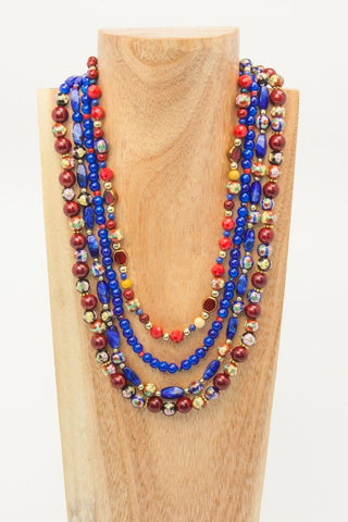Conga - 3 strand Acrylic Balls and Seed Beads Necklace