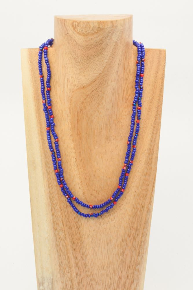 Bel - Blue, Red and Gold Bead Necklace