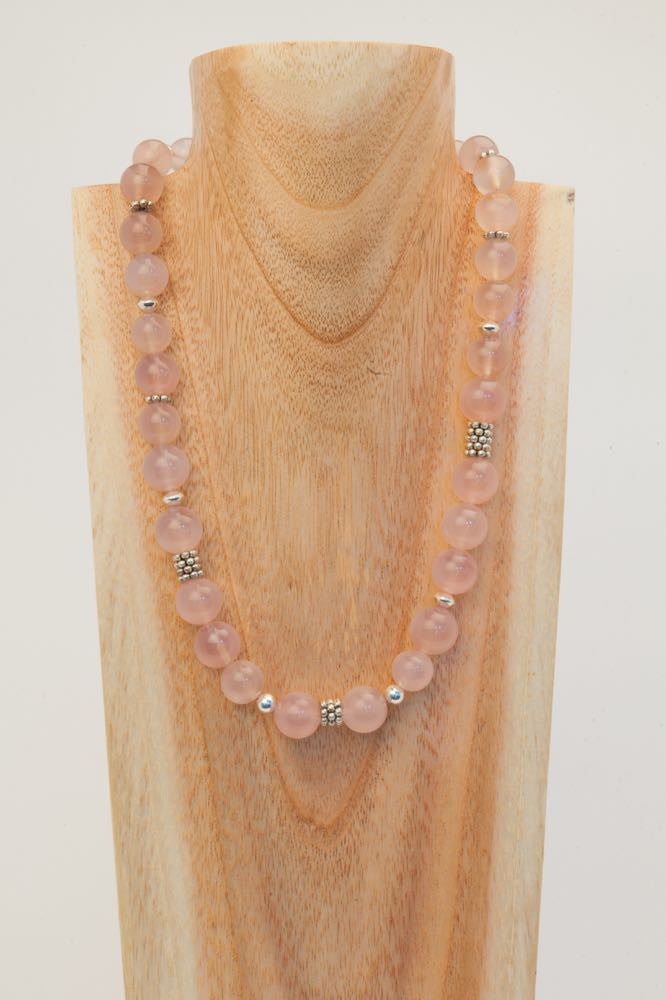 Bernice - Rose Quartz, Pink Chalcedony and Sterling Necklace