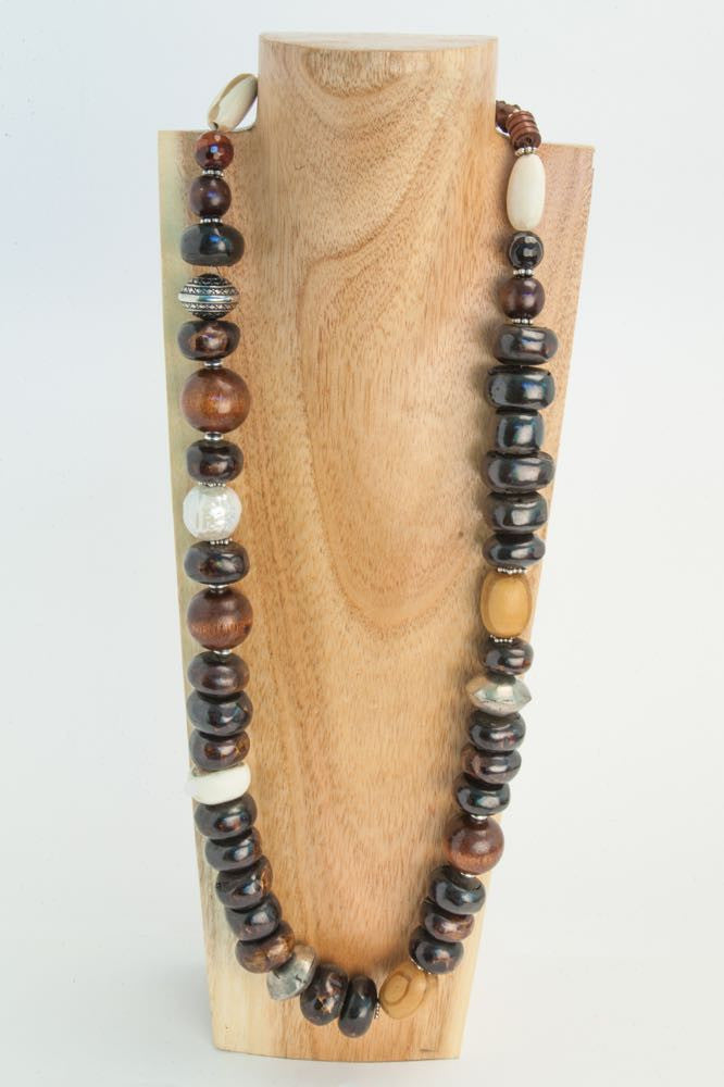 Bev - Brown and white African Bone, African Seed, Wood and Ceramic Necklace