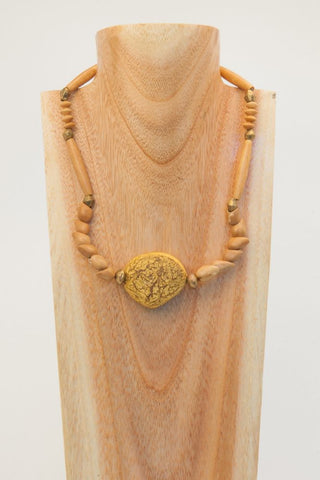 Brenda - Brown Wood, Quartz, Shell, Ceramic and Pearl Necklace