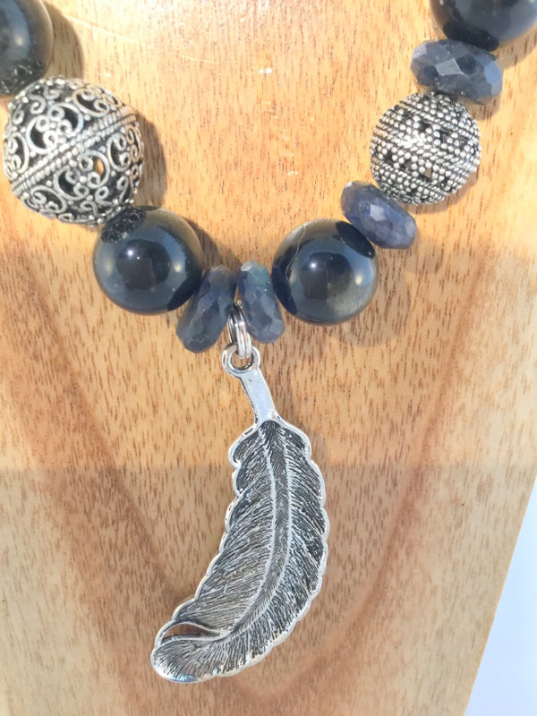 BLACKY: Obsidian and carved Onyx Necklace
