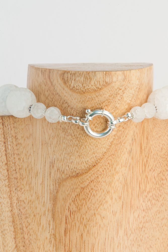 Blanche - Matte White Crystal Balls and Sterling Long Necklace