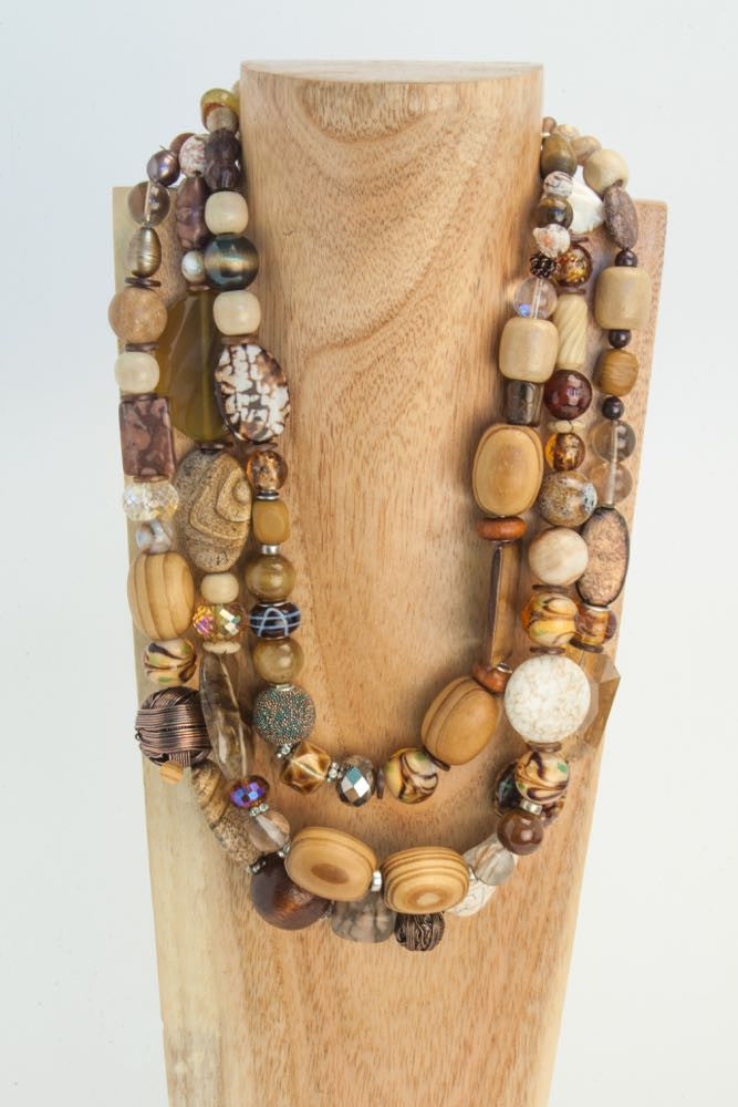 Bonny, Brenda and Sherry - Brown and Camel Wood, Agate, Seashell and Quartz Necklace