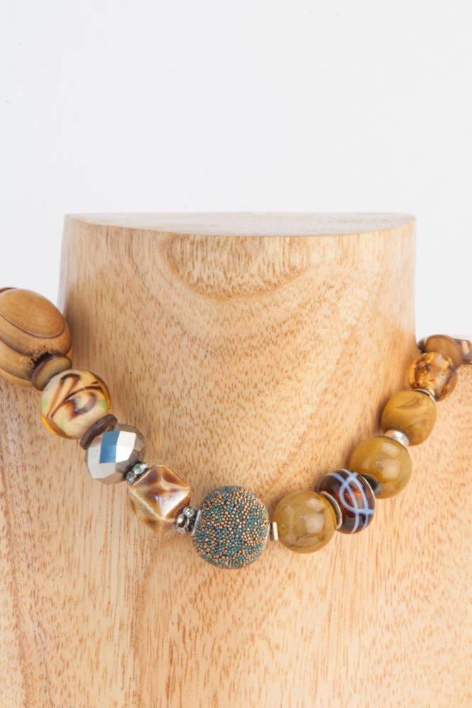 Bonny - Brown and Camel Wood, Agate, Seashell and Quartz Necklace