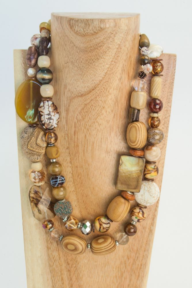 Bonny & Sherry- Brown and Camel Wood, Agate, Seashell and Quartz Necklace