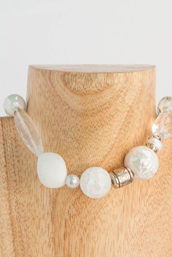 Brandy - White Crystal, Pearl, Ceramic and Sterling Necklace