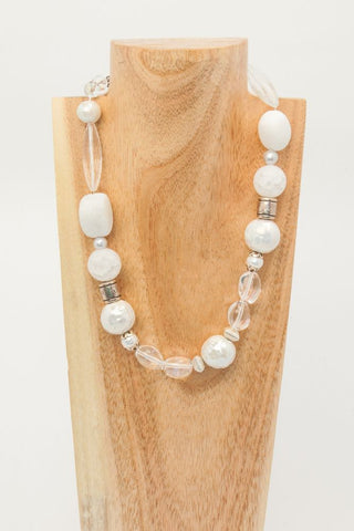 Alexis - Long Pearl and Silver Necklace - SOLD