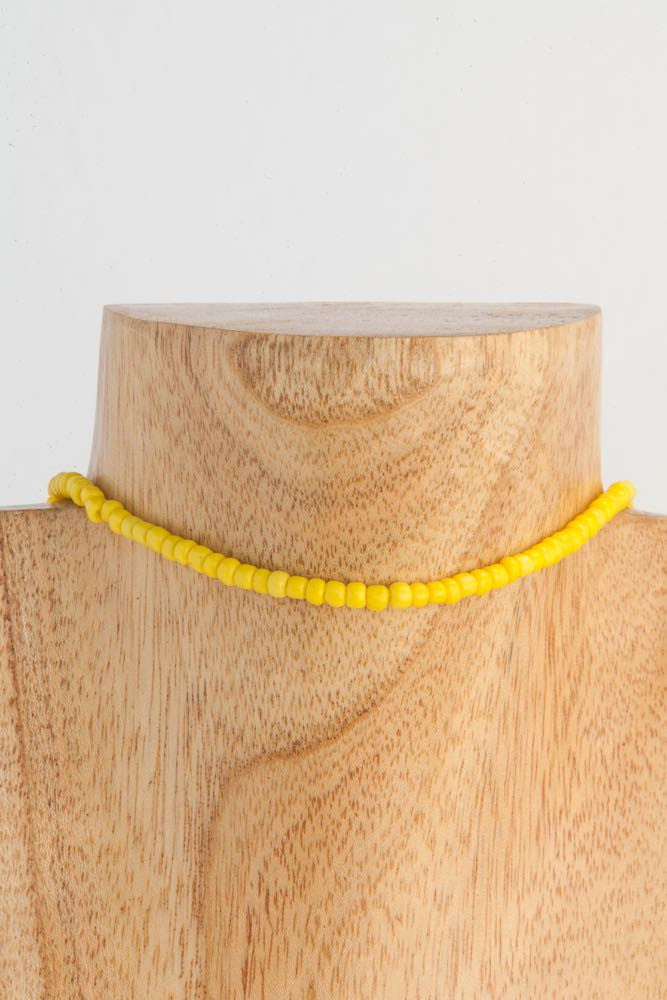 Bree - Long yellow seed glass bead necklace