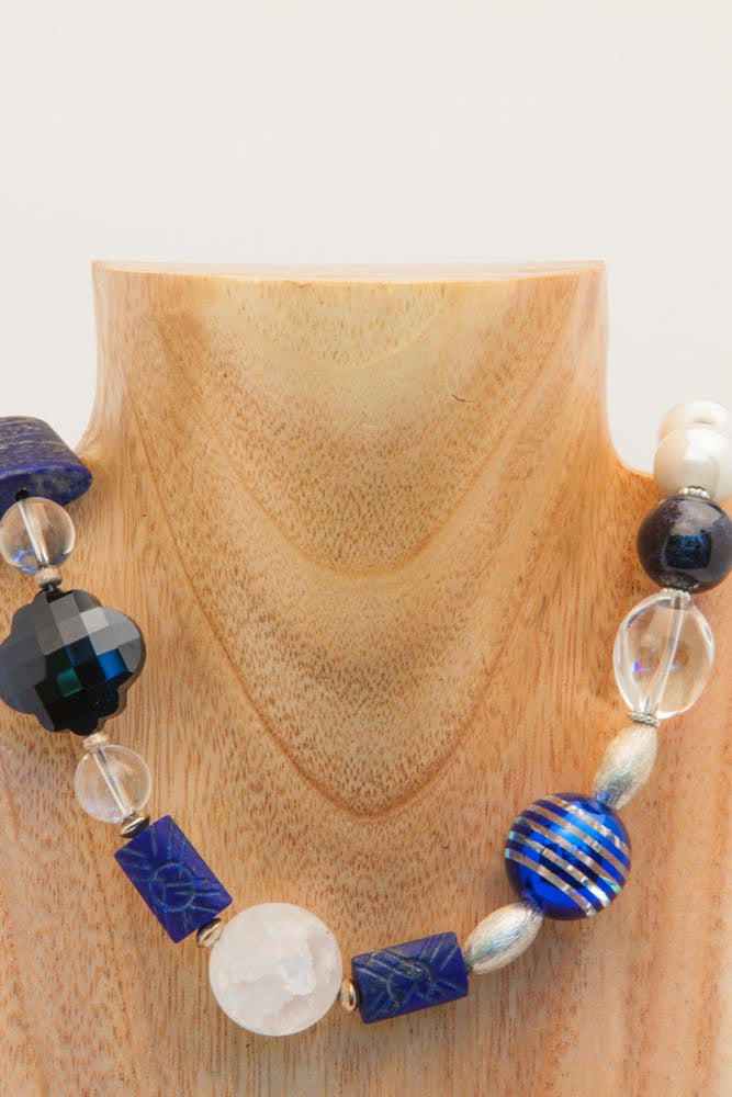 Bridget - Lapis, Crystal and Sterling Necklace