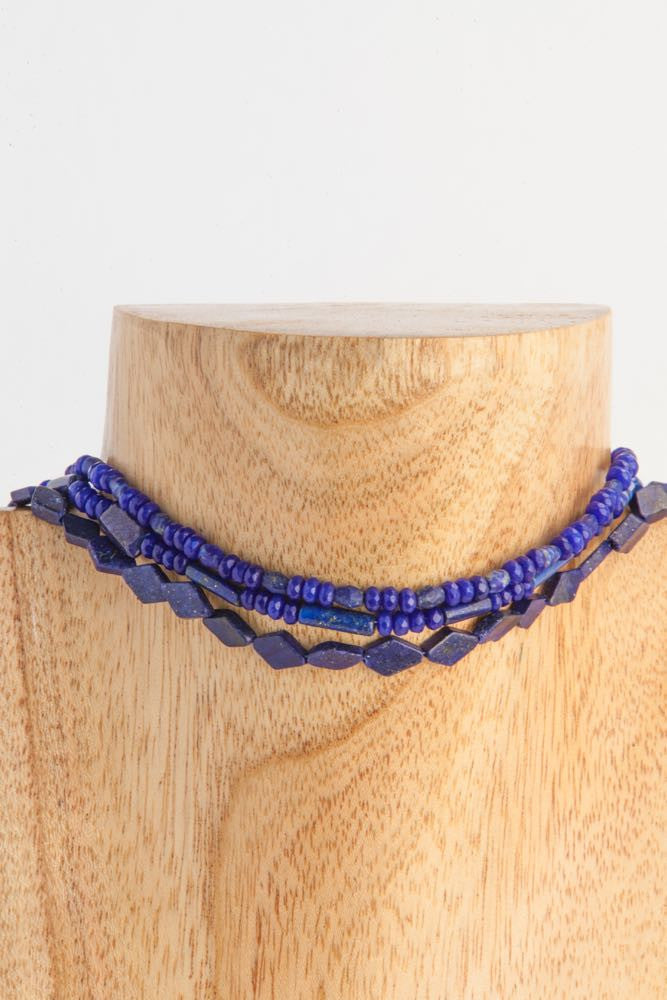 Britney - Blue 3 strand Lapis Long Necklace