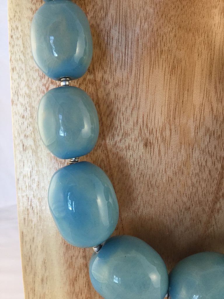 BRUGES: Robin's Egg Blue Ceramic Necklace