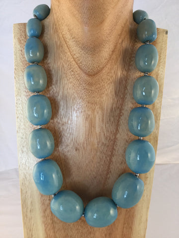Cheryl - 2 Strand Turquoise, Wood, African Seeds and Mookaite Necklace - SOLD