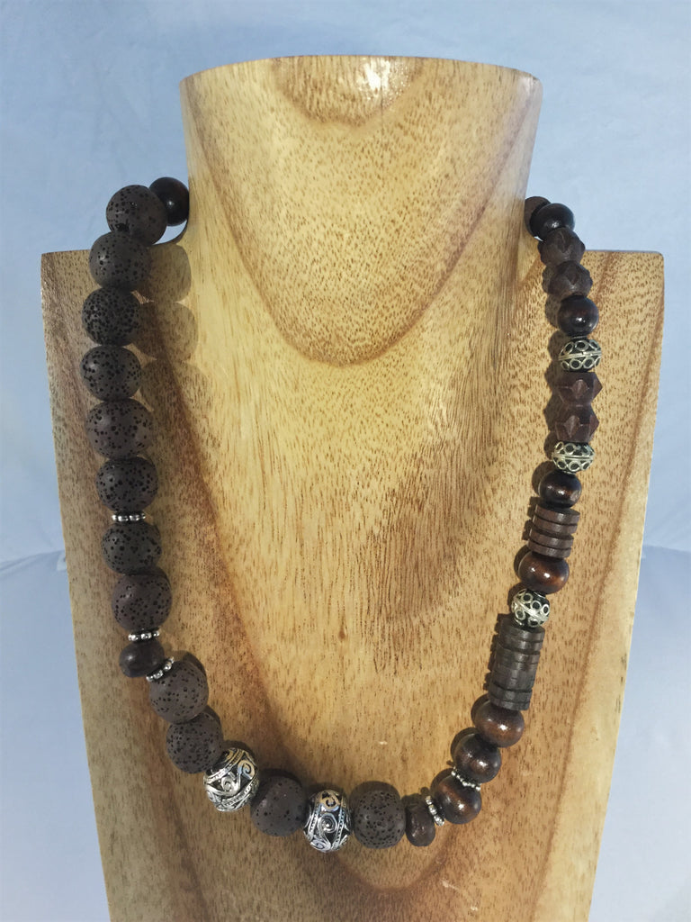CLAIRE II:  dark brown wood and lava beads