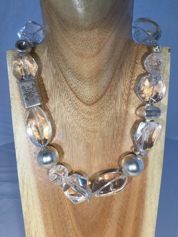 Courtney - Turquoise Howlite, Ceramic Balls and Sterling Necklace