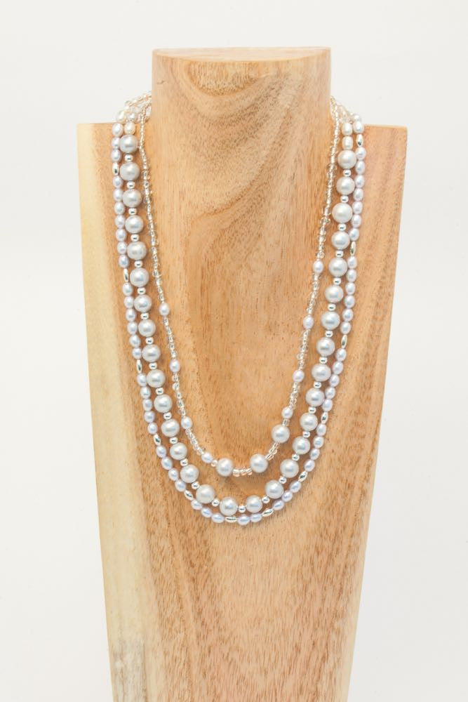 Carla - 3 strand Pearl and Glass Seed Bead Necklace