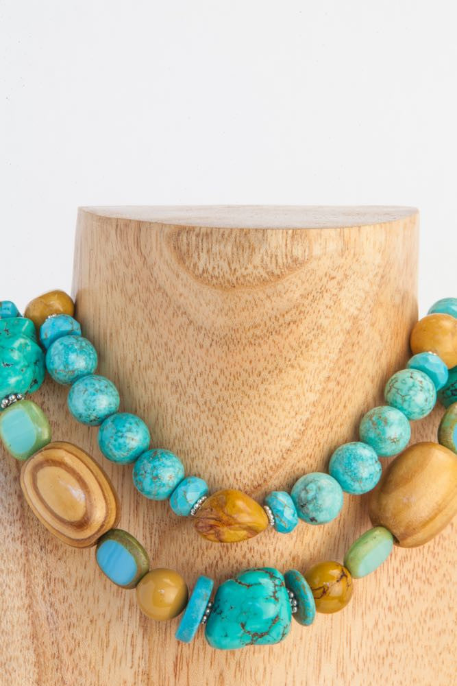 Cheryl - 2 Strand Turquoise, Wood, African Seeds and Mookaite Necklace - Dara Jane Jewellery