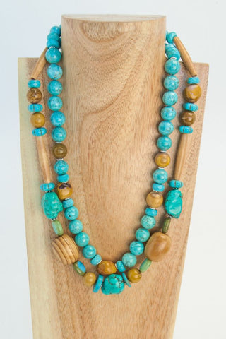 BABY BLUE:  Blue Lacey Agate Necklace