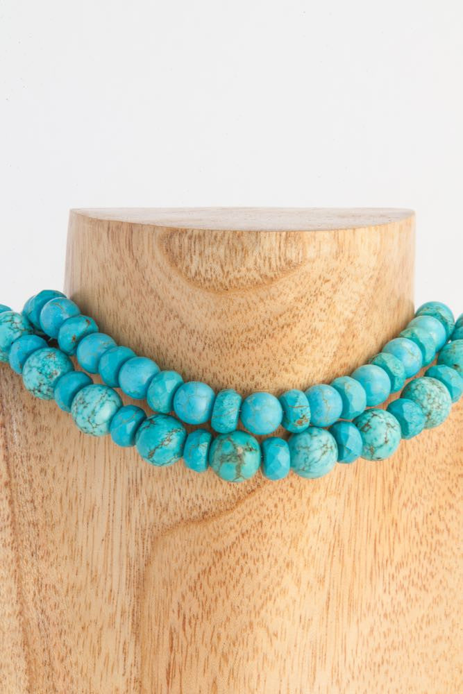 Clementine - 2 Strand Turquoise Balls Choker Necklace - Dara Jane Jewellery