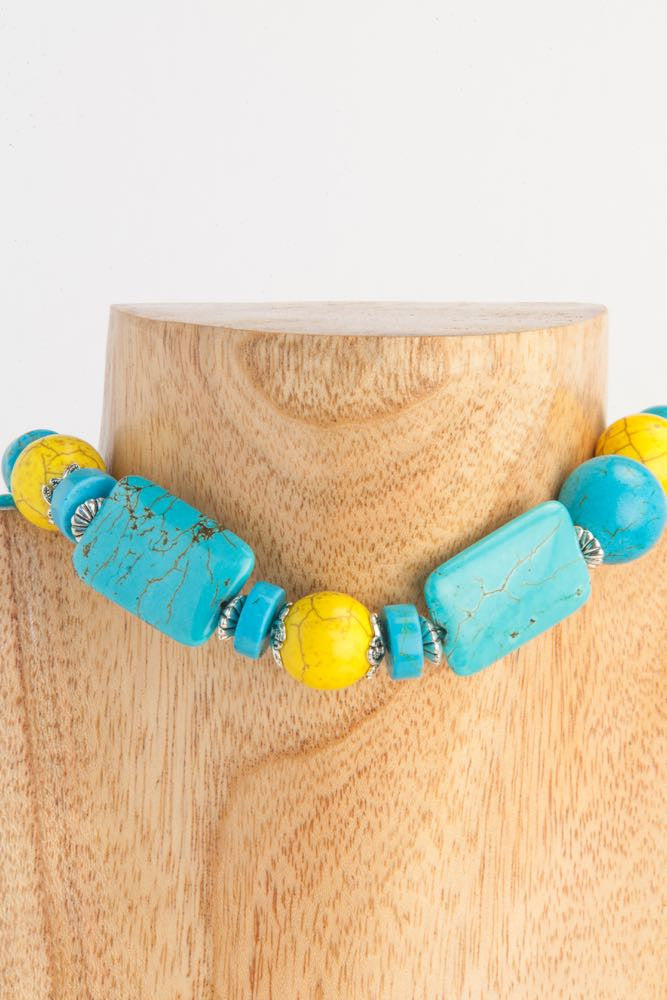 Courtney - Turquoise Howlite, Ceramic Balls and Sterling Necklace - Dara Jane Jewellery