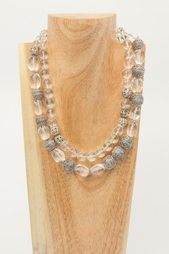 Crystal - 2 Strand Clear Crystal and Sterling Necklace - Dara Jane Jewellery