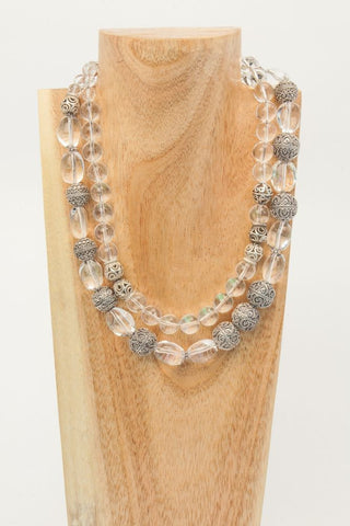 Blanche - Matte White Crystal Balls and Sterling Long Necklace - SOLD