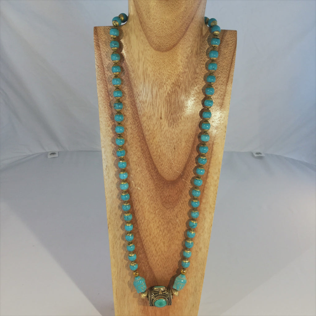 "DIKI: 31 "" oval Turquoise necklace"
