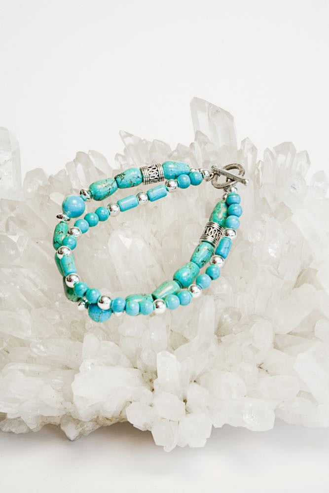 Turquoise Bracelet and sterling clasp