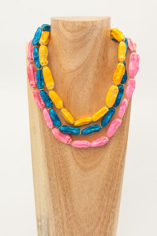 BIBA: Royal Blue Large Wood Ovals Choker