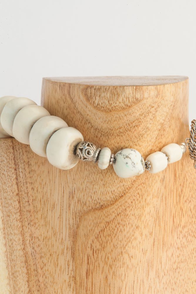 Dee - White African Bone and Sterling Necklace