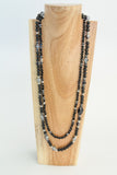 Dolores III - Black Onyx long 2 strand necklace
