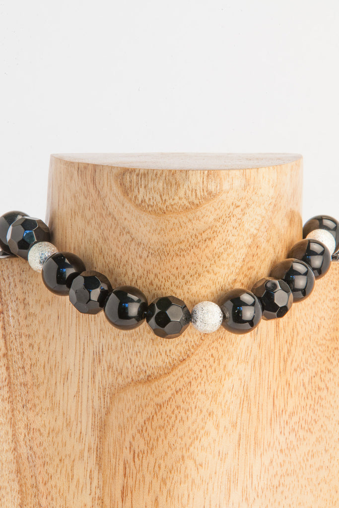 Onyx necklace with frosty ball inserts