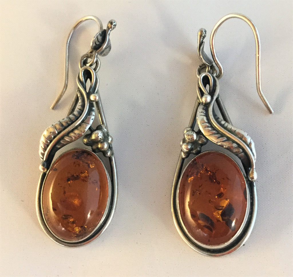 E61: Baltic Amber earrings with sterling
