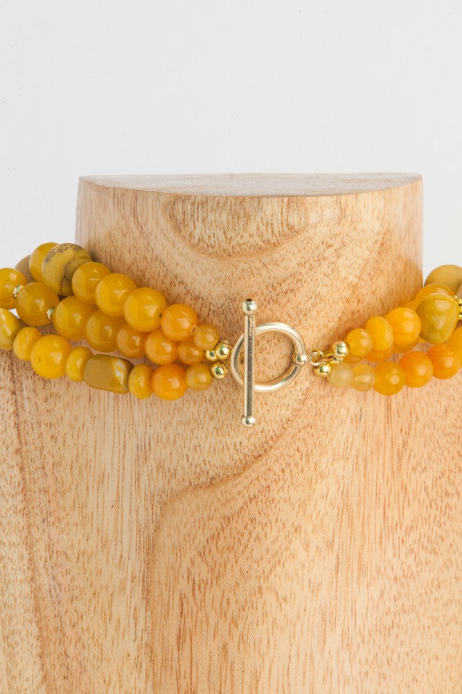 Edith - 3 strands Yellow Jade, Mookaite, Citrine and Gold - SOLD