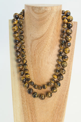 Freda - Zebra Stone Oval necklace in black and brown.