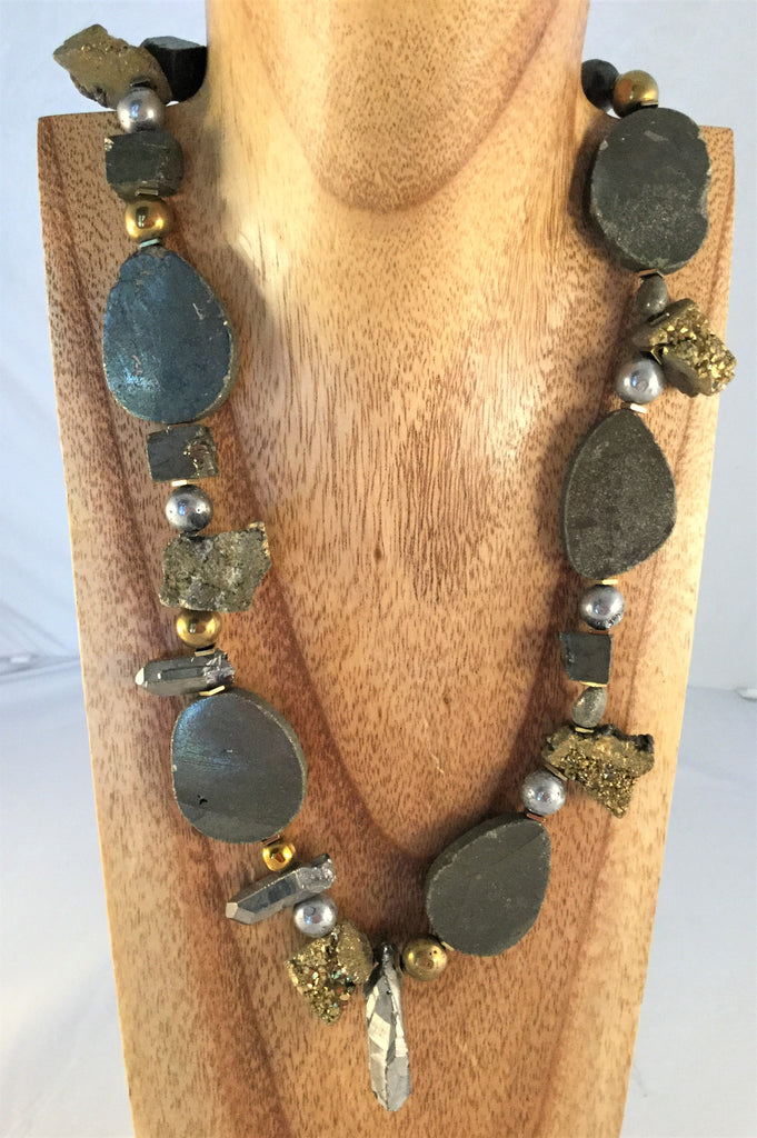 FOOL'S GOLD: rough Hematite and Fool's Gold nugget necklace