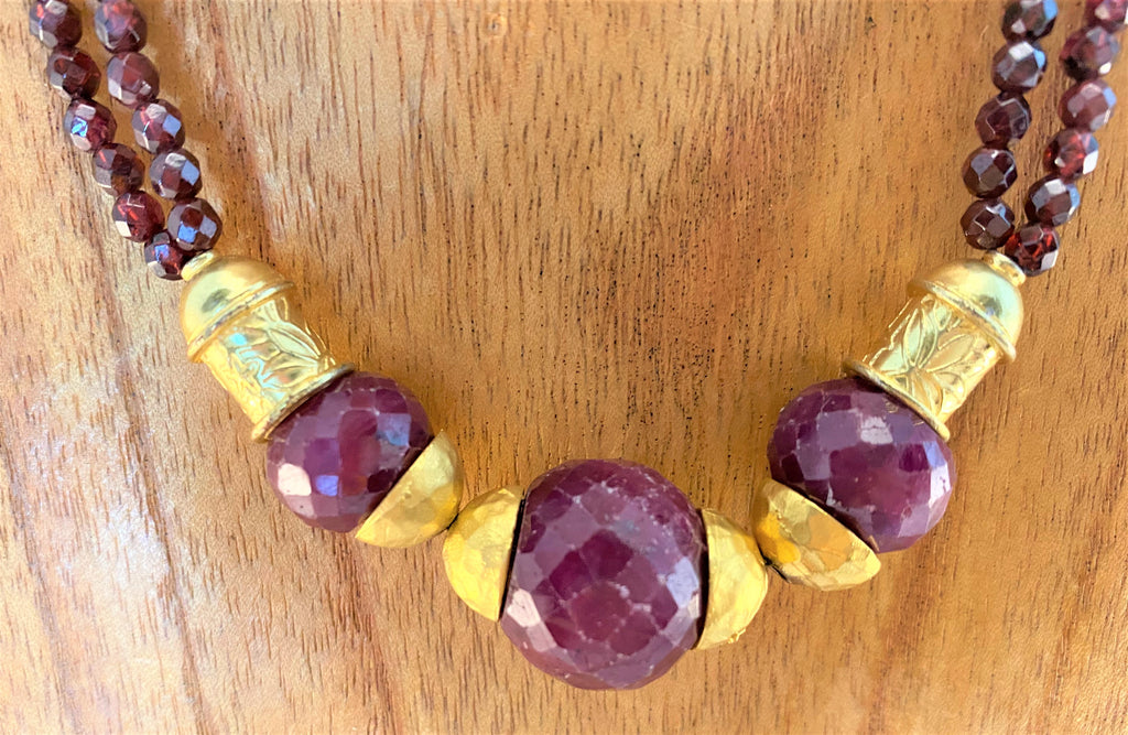 FACETED RUBY: Ruby and Gold Necklace
