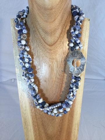 Olivia - Large Rhyolite Rondels with bronze and gold statement necklace.