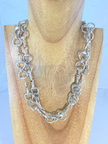 Brett - Silver plate flat bead long necklace