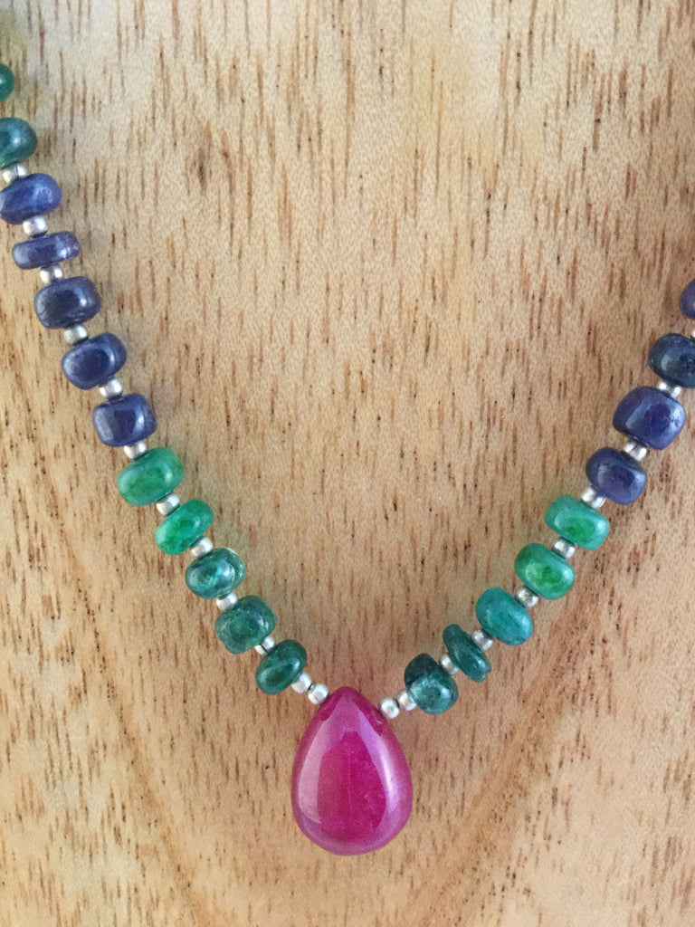 large drop Ruby with Sapphires and Emeralds