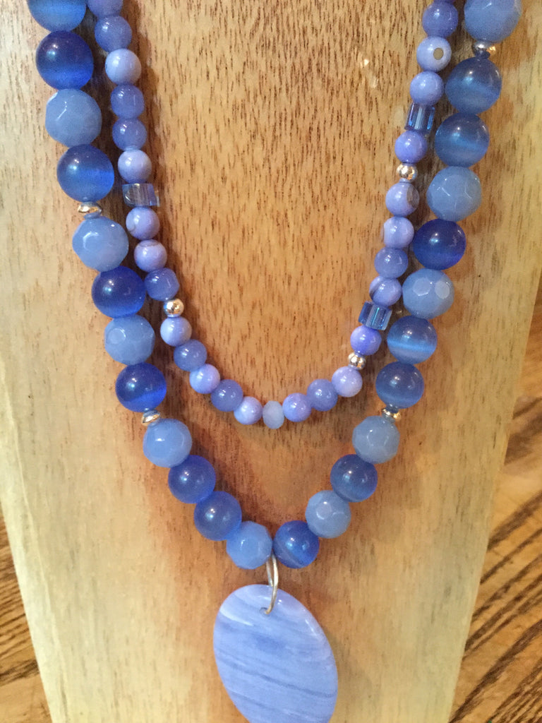 Joy - Wedgwood Blue Agate and faceted glass necklace.