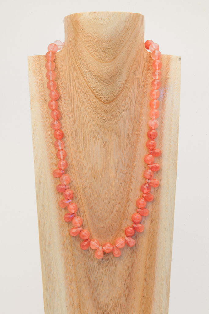 Katie - Cherry Quartz necklace with faceted teardrops.