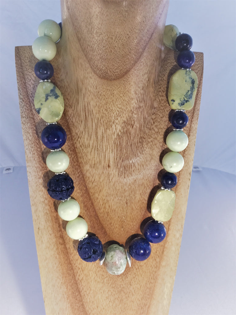 LEMONY: 18mm Lemon Chysophrase balls with 2 carved Lapis and 14mm lapis