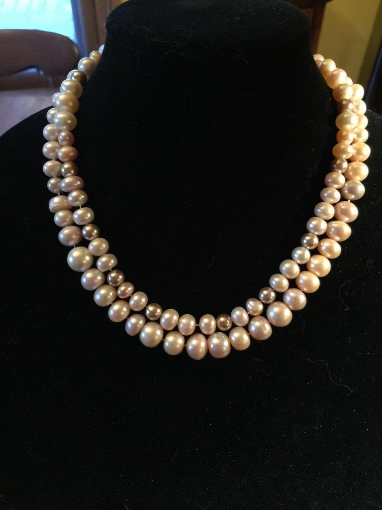 cream, pink and taupe fresh water pearls