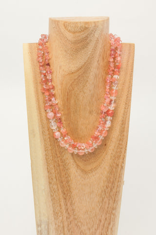 CARVED CRYSTAL: Clear Crystal Nuggets and Sterling Choker
