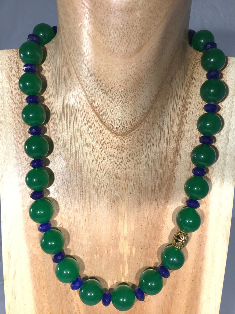 MADGE:  Emerald Green Jade & Sapphire Necklace.