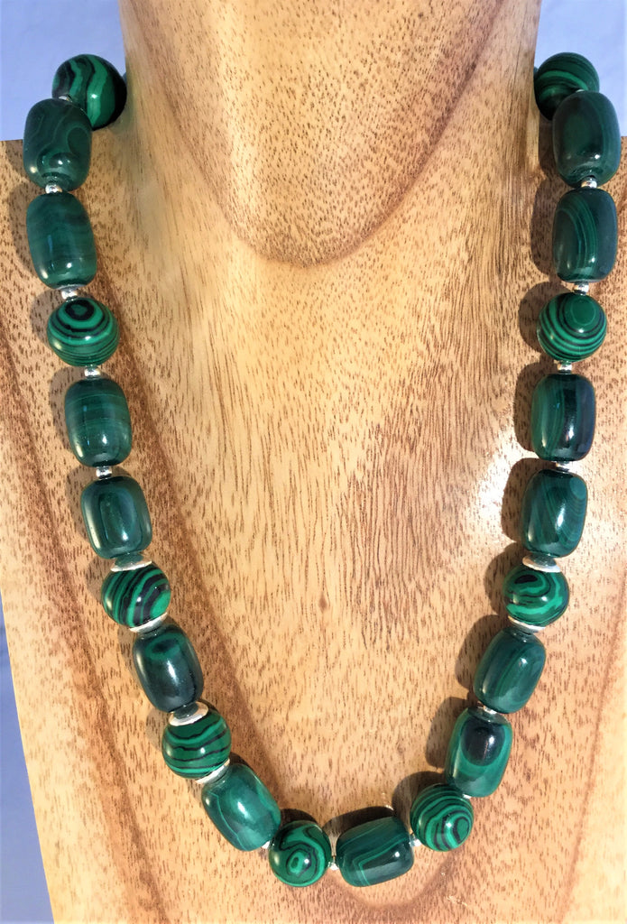 MALACHITE: cylinders with 12mm balls and sterling