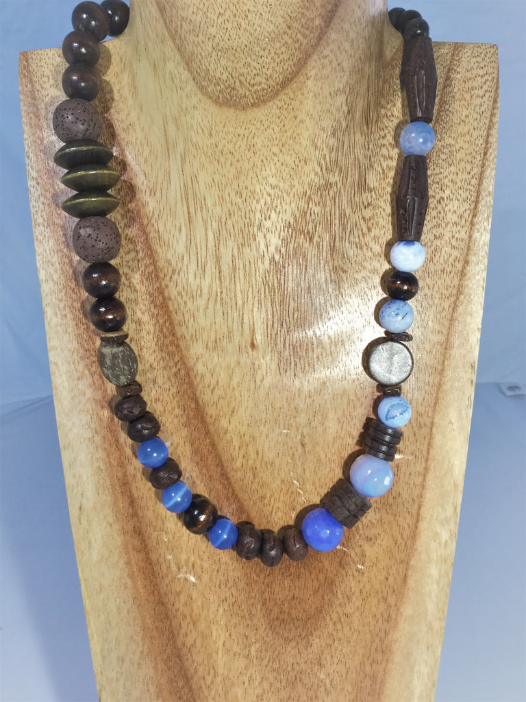 MARIE FRANCE: blend of wood, lava Agate and glass